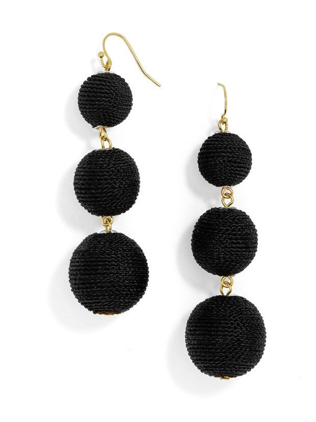 Black Three Ball Earrings