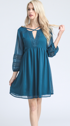 Solid Teal Crisscross Straps Dress