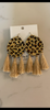 Leopard w/Light Taupe Tassel Earrings