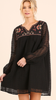Black Lace A Line Dress w/Embroidered Detail