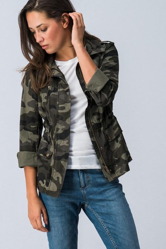 CAMO ZIP UP BUTTON DOWN LONG SLEEVE JACKET WITH POCKET