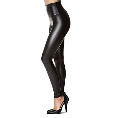 Black Stretchy Faux Leather Leggings/Pants High Waisted