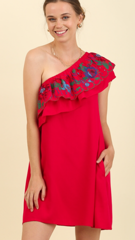 Cha Cha Cha Red Flower Dress w/Pockets