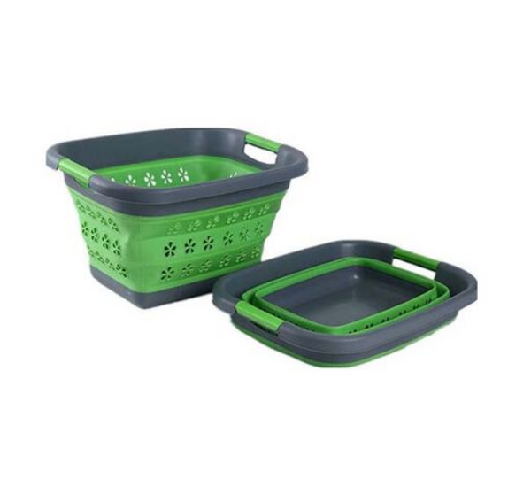 COLLAPSIBLE SILICONE LAUNDRY BASKET GREEN. RCLND001