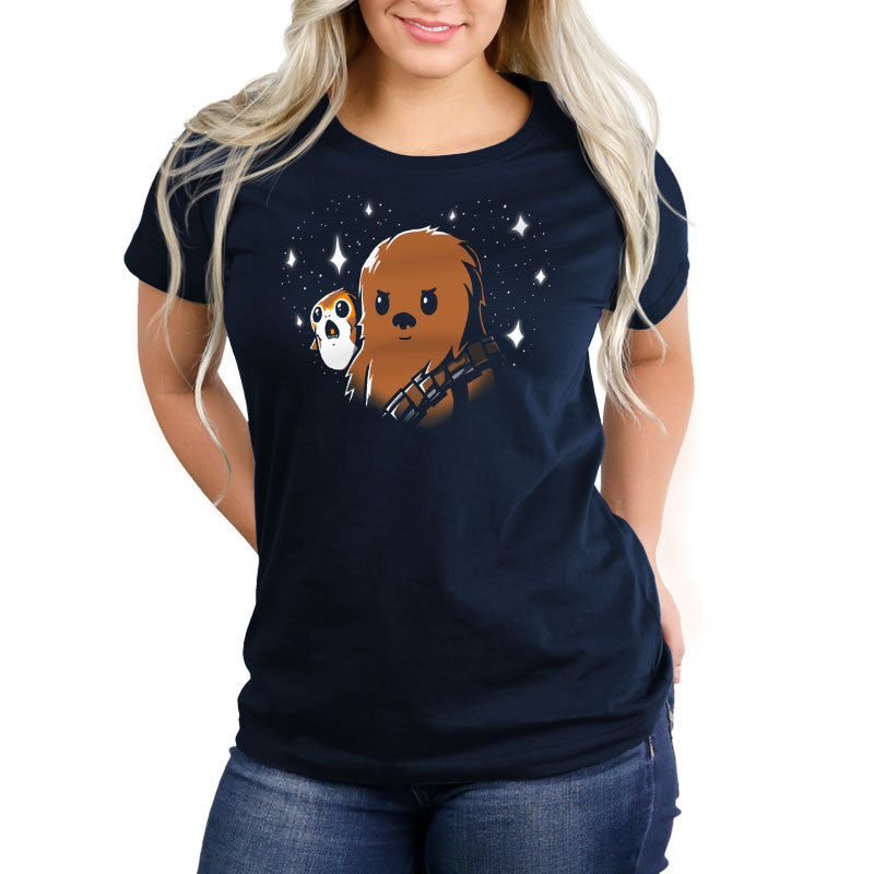 BFFs Chewie and Porgs Women's Relaxed Fit T-Shirt Model Star Wars TeeTurtle