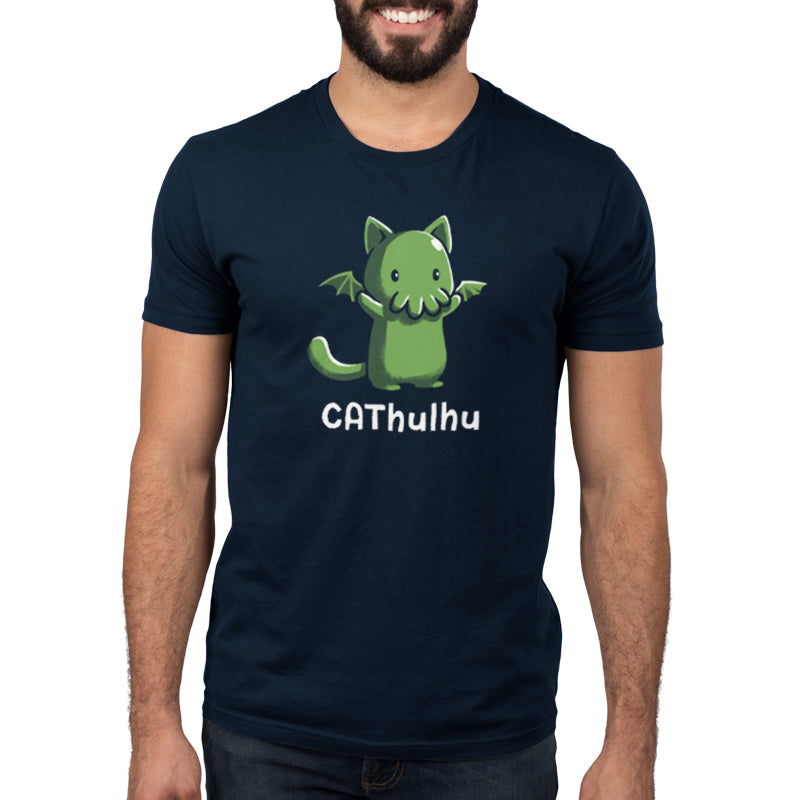 CAThulhu Men's T-Shirt model TeeTurtle black t-shirt featuring the green sea monster Cthulhu in the form of a cat