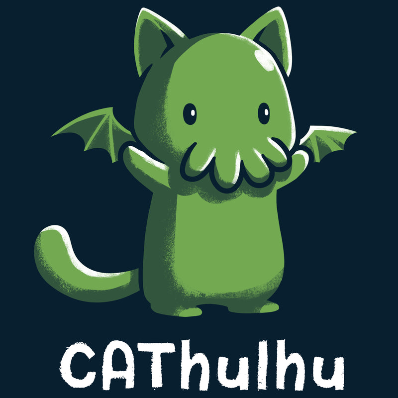 CAThulhu T-Shirt TeeTurtle black t-shirt featuring the green sea monster Cthulhu in the form of a cat