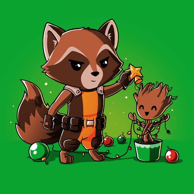 Rocket Around The Christmas Tree T-Shirt Marvel TeeTurtle