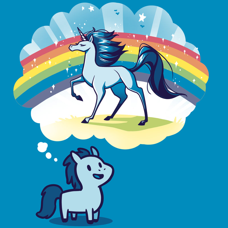 Dream Big, Little Horsey T-Shirt TeeTurtle blue t-shirt featuring a pony with a thought bubble over its head and in the thought bubble is a majestic horse with a rainbow behind it