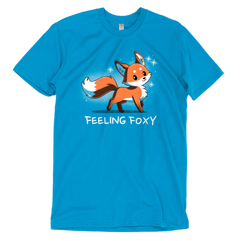"Feeling Foxy T-Shirt TeeTurtle Blue t-shirt with a red orange fox with sparkles around him and shirt text ""feeling foxy"""