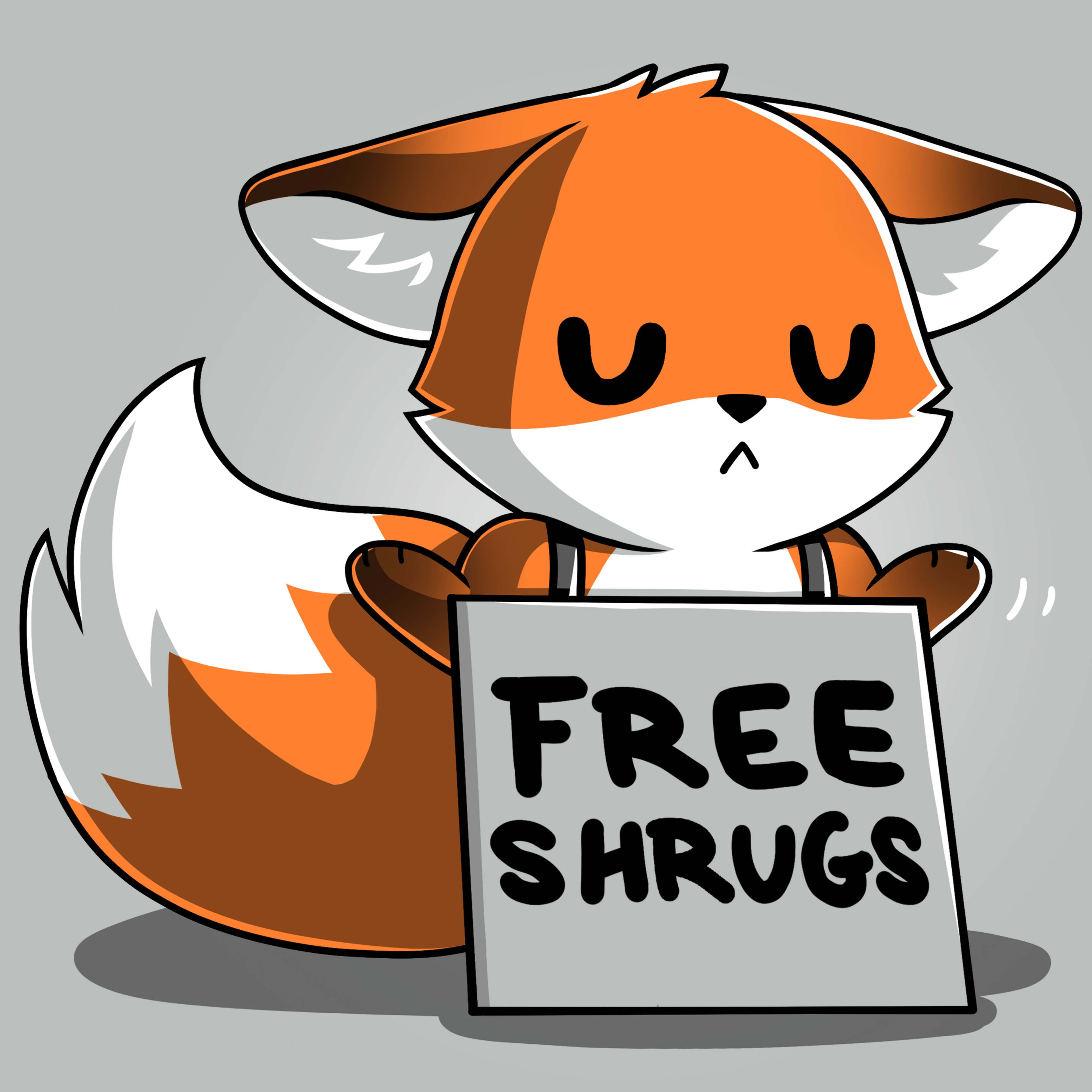 "Free Shrugs T-Shirt TeeTurtle Gray T-Shirt featuring a fox with a ""Free Shrugs"" sign hanging around its neck with shirt text ""free shrugs"""