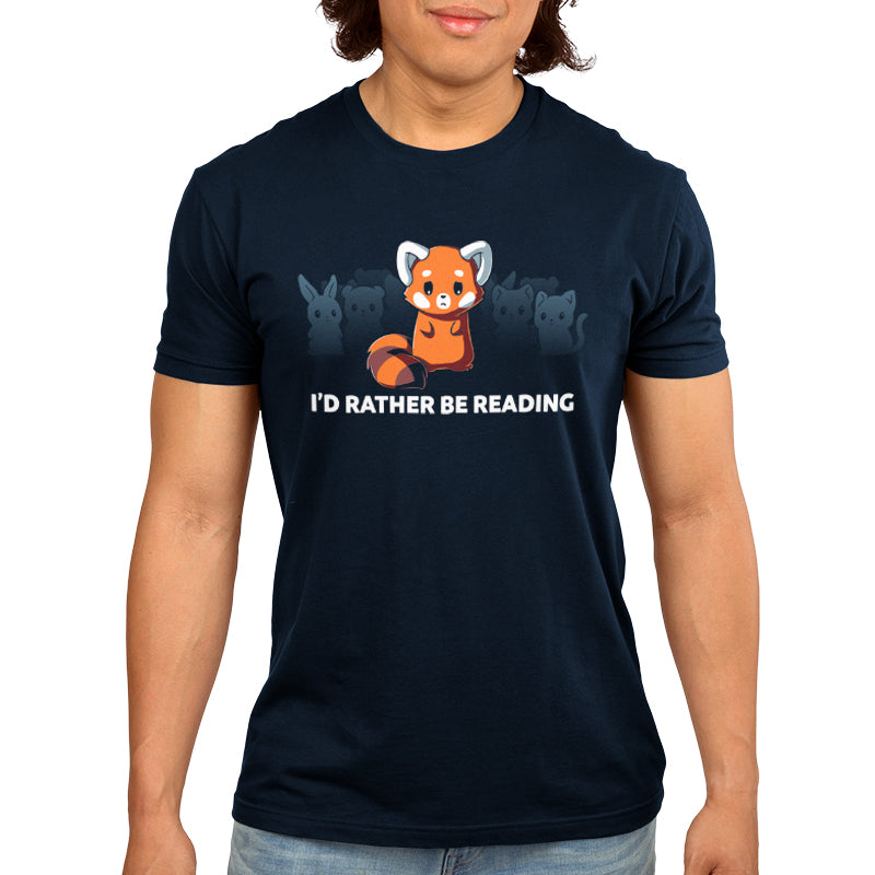 "I'd Rather Be Reading Men's T-Shirt Model TeeTurtle Blue t-shirt with a red fox surrounded by other various animals in the background with shirt text ""I'd Rather be Reading"""
