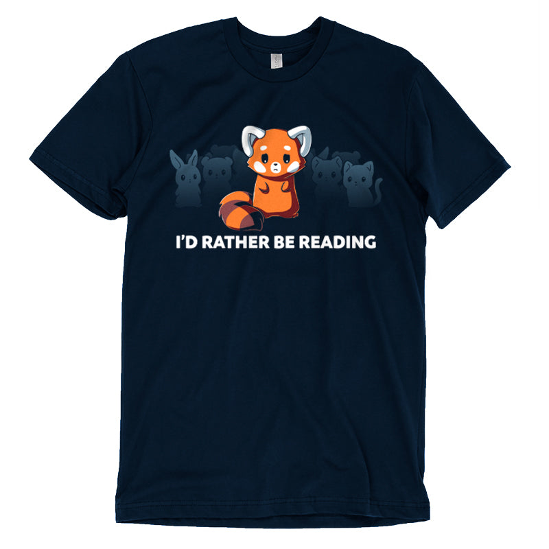 "I'd Rather Be Reading T-Shirt TeeTurtle Blue t-shirt with a red fox surrounded by other various animals in the background with shirt text ""I'd Rather be Reading"""