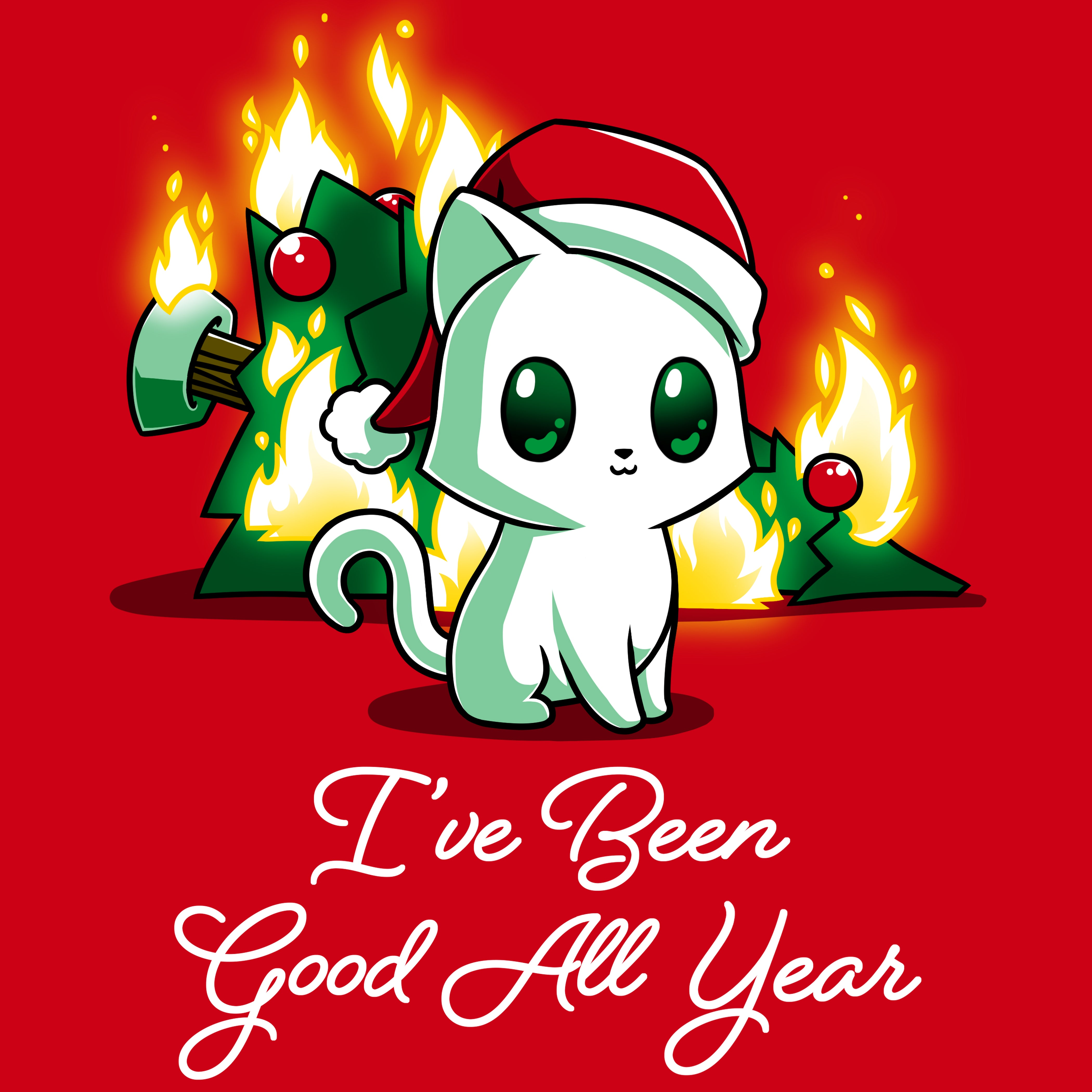 I've Been Good All Year T-Shirt TeeTurtle Red shirt with cat wearing a Santa hat and a flaming Christmas tree in the background
