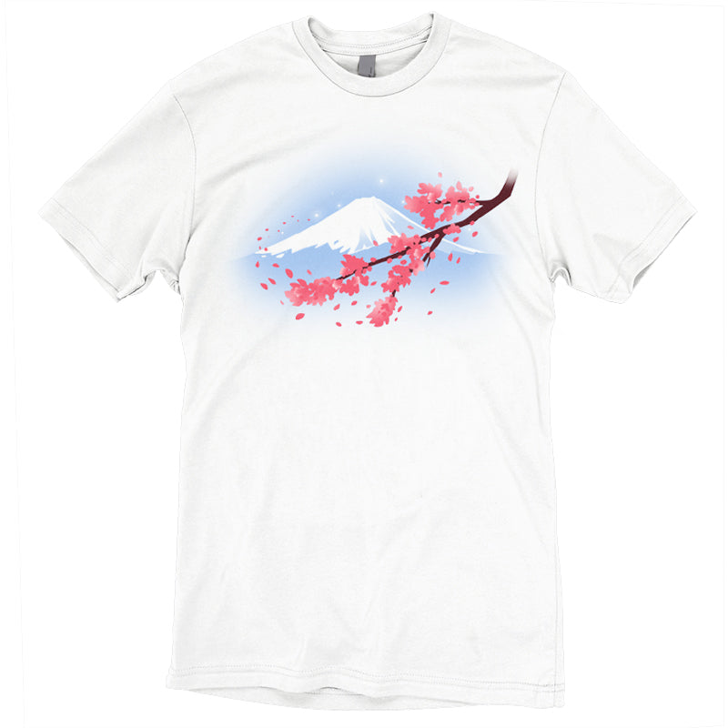 Mount Fuji T-Shirt TeeTurtle white t-shirt with an image of Mt. Fuji with a cherry blossom branch in front of it