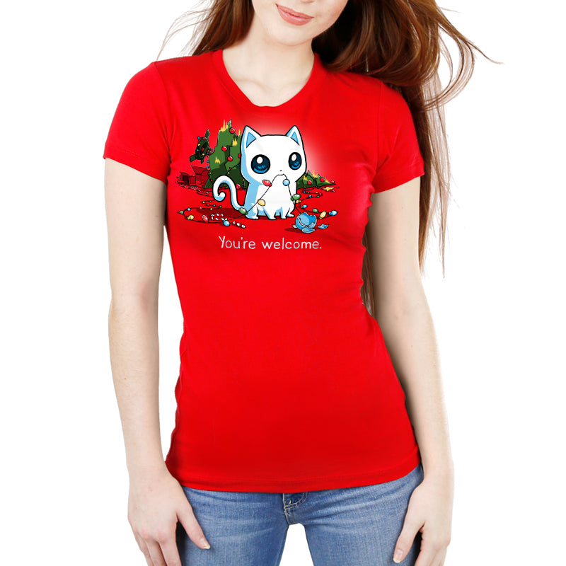 A Very Bad Kitty Christmas Women's Ultra Slim T-Shirt Model TeeTurtle