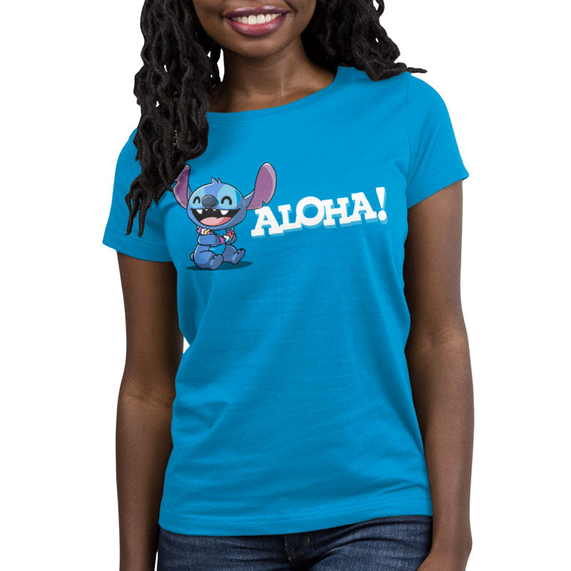 Aloha Stitch Women's T Shirt Model Disney TeeTurtle