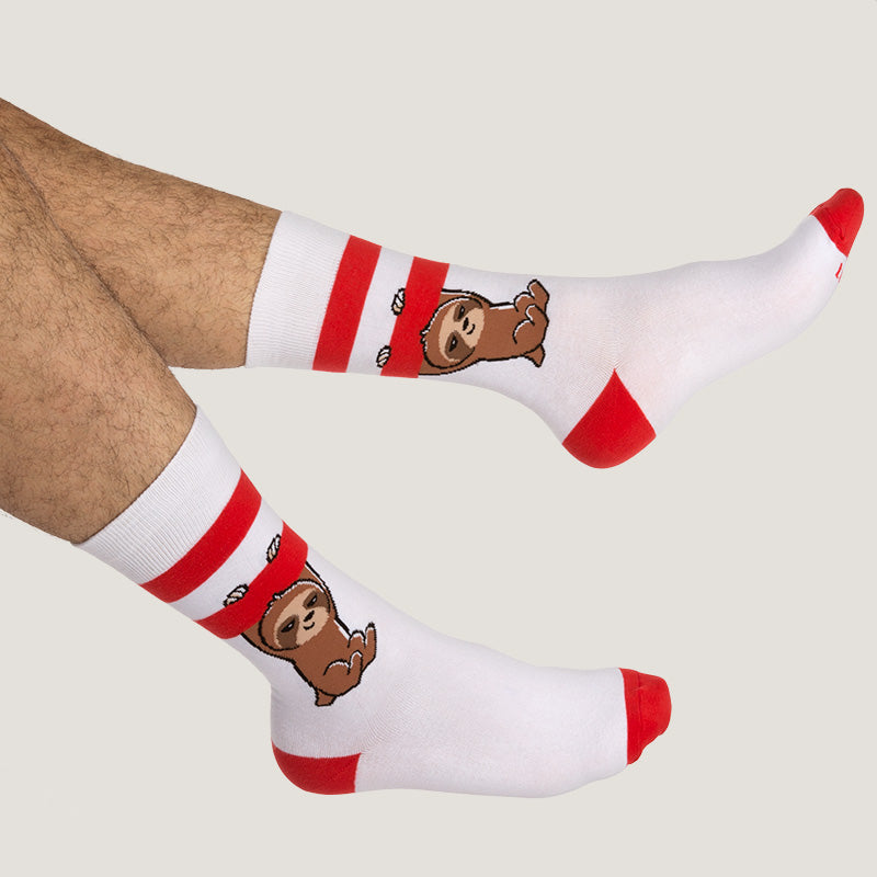 Red and White Athletic Socks Model TeeTurtle