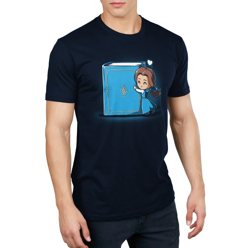Belle Loves Reading Men's T-Shirt Model Disney TeeTurtle