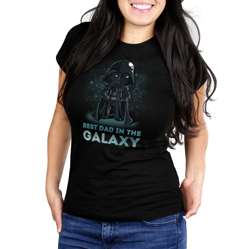 Best Dad in the Galaxy Women's Ultra Slim t-shirt model Star Wars TeeTurtle
