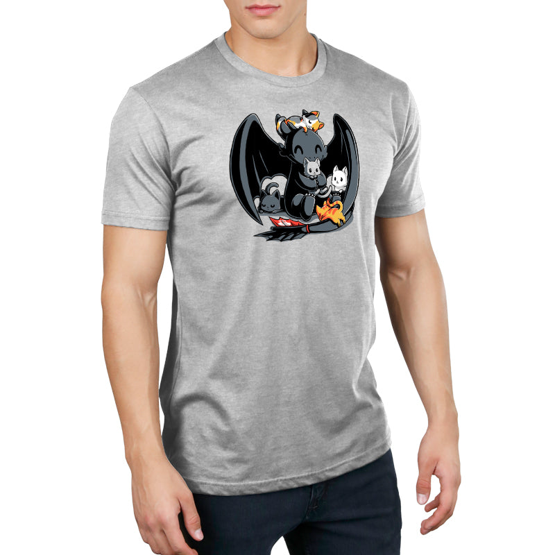 BFFs (Toothless and Cats) Men's T-Shirt Model How To Train Your Dragon TeeTurtle
