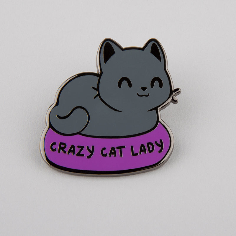 crazy cat lady pin funny cute nerdy pins teeturtle