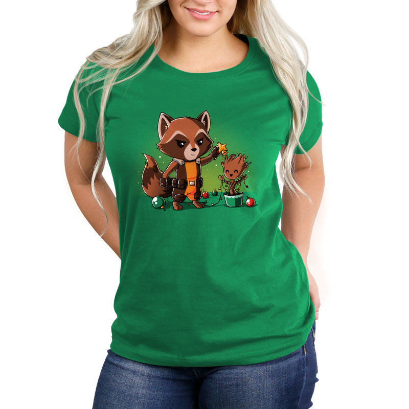 Rocket Around the Christmas Tree Women's Relaxed T-Shirt Model Marvel TeeTurtle