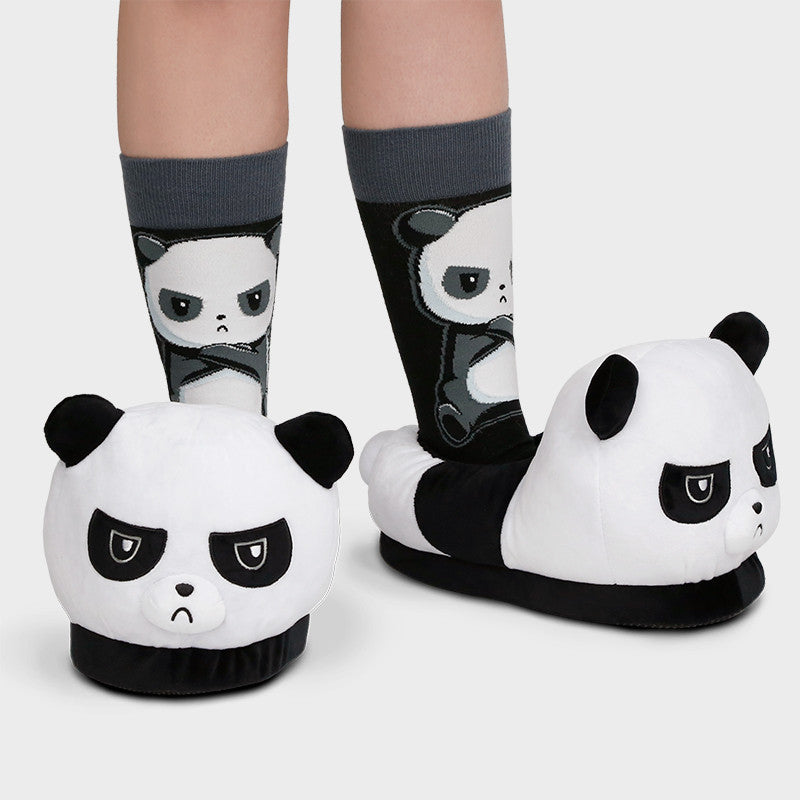 Grumpy Panda Slippers model TeeTurtle