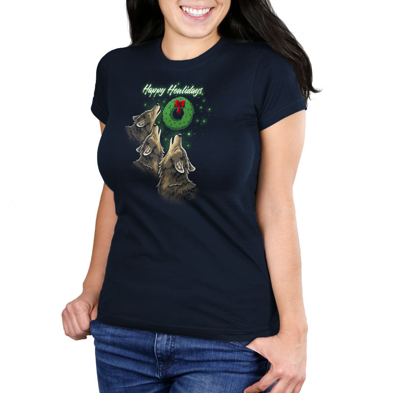 Happy Howlidays Women's Ultra Slim T-Shirt Model TeeTurtle