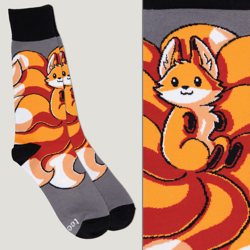 Dark Gray Kitsune Socks TeeTurtle