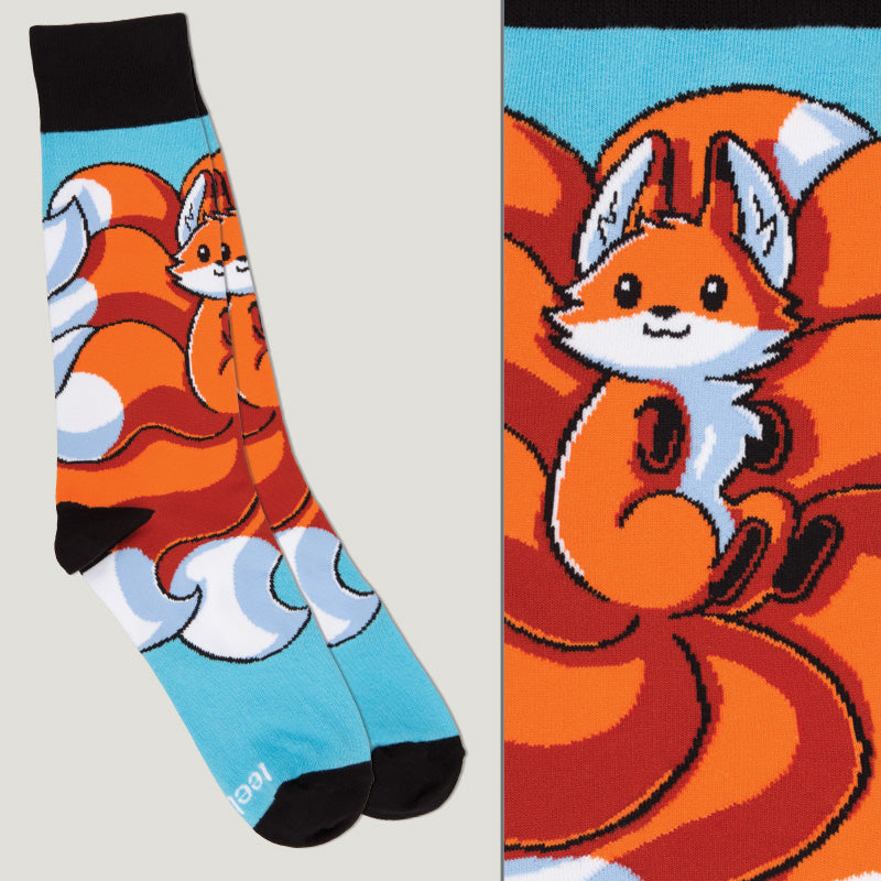Light Blue Kitsune Socks TeeTurtle