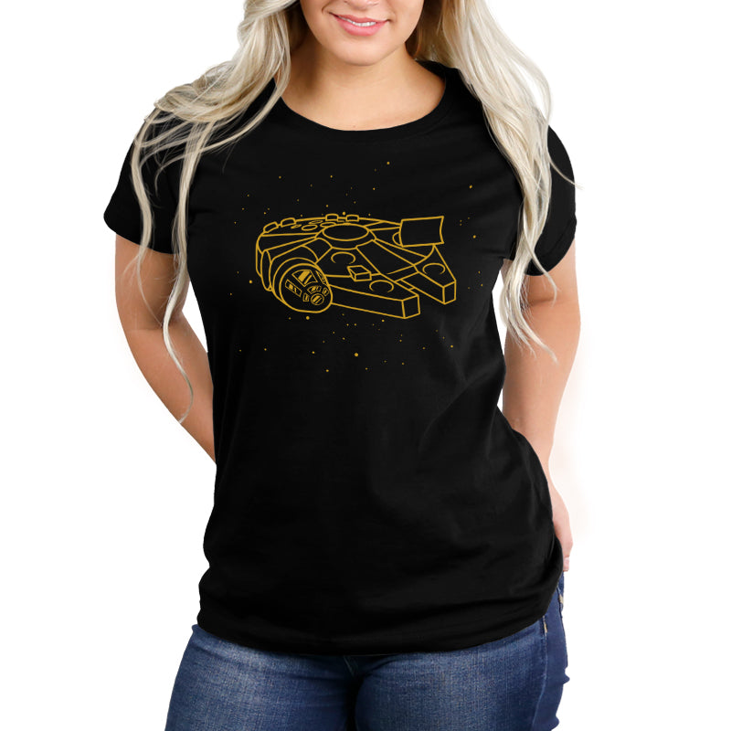 Millennium Falcon (Gold Metallic Ink) Women's Relaxed Fit T-Shirt Model Star Wars TeeTurtle