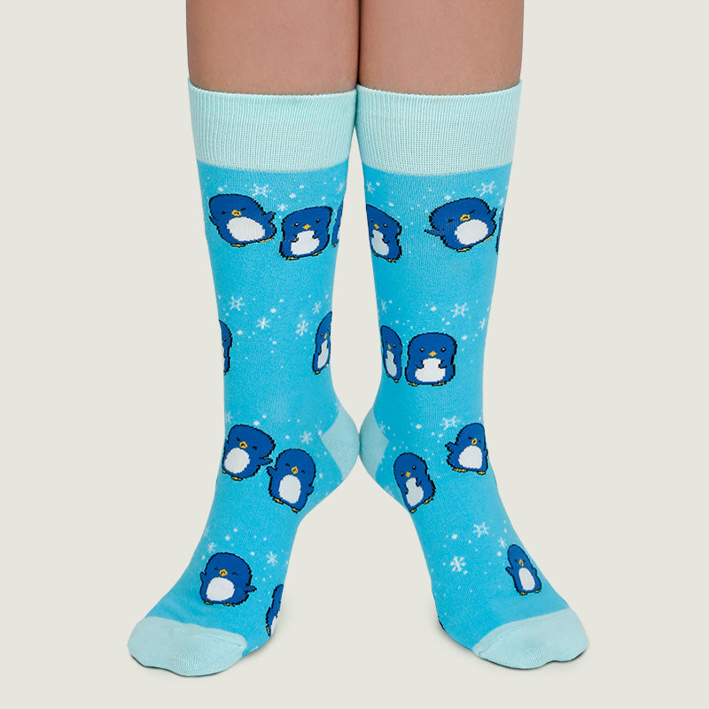 Playful Penguins Socks (Bright Blue)