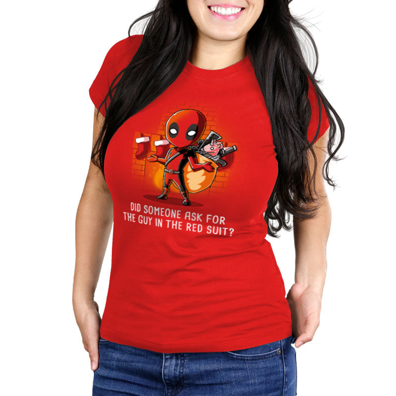 The Guy in the Red Suit Women's Ultra Slim T-Shirt model Marvel TeeTurtle