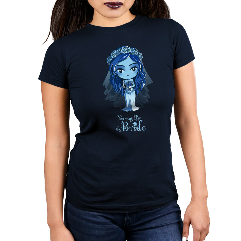 You May Kiss the Bride Women's Ultra Slim t-shirt model Corpse Bride TeeTurtle