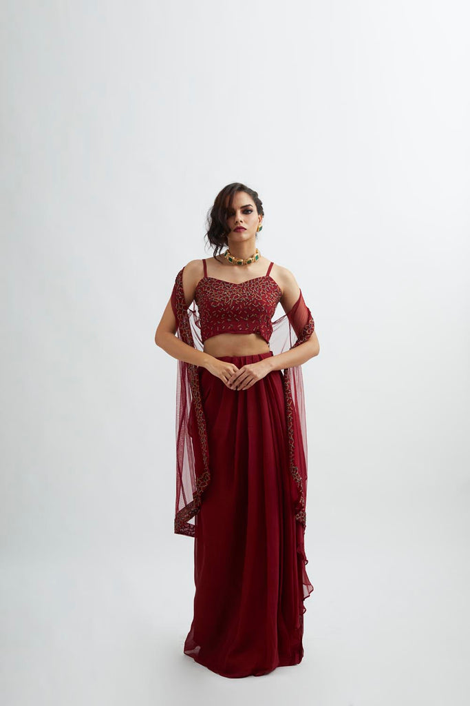 Maroon Embroidered Cape Set
