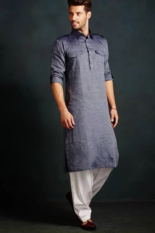 LINEN PATHANI KURTA SET