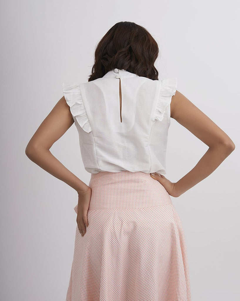 CARNATION LUCK White Ruffle Top