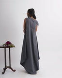 DOWN FROM THE CLOUDS Grey Collar Long Dress