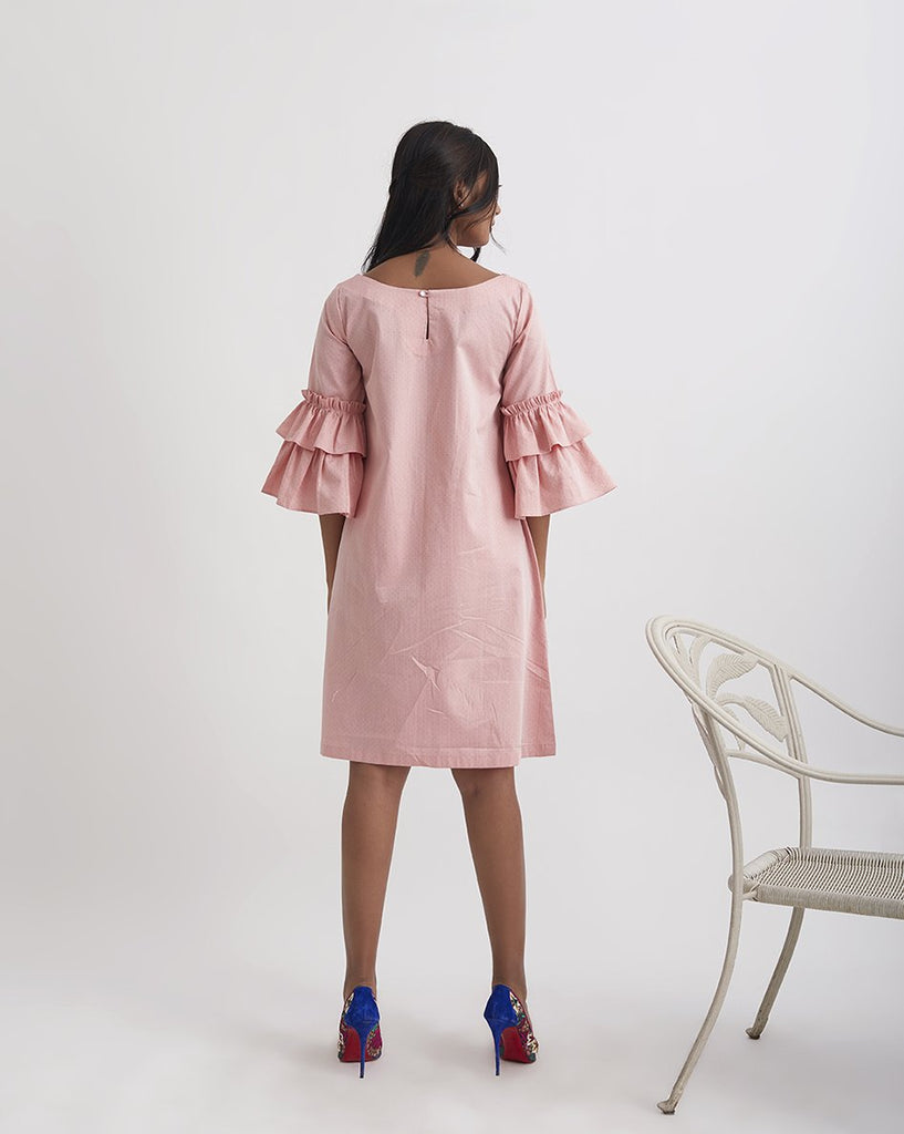 MUSK ROSE Boat neck Ruffle Dress
