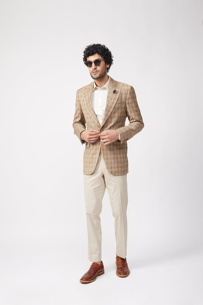 Yugen Beige Plaid Jacket Set