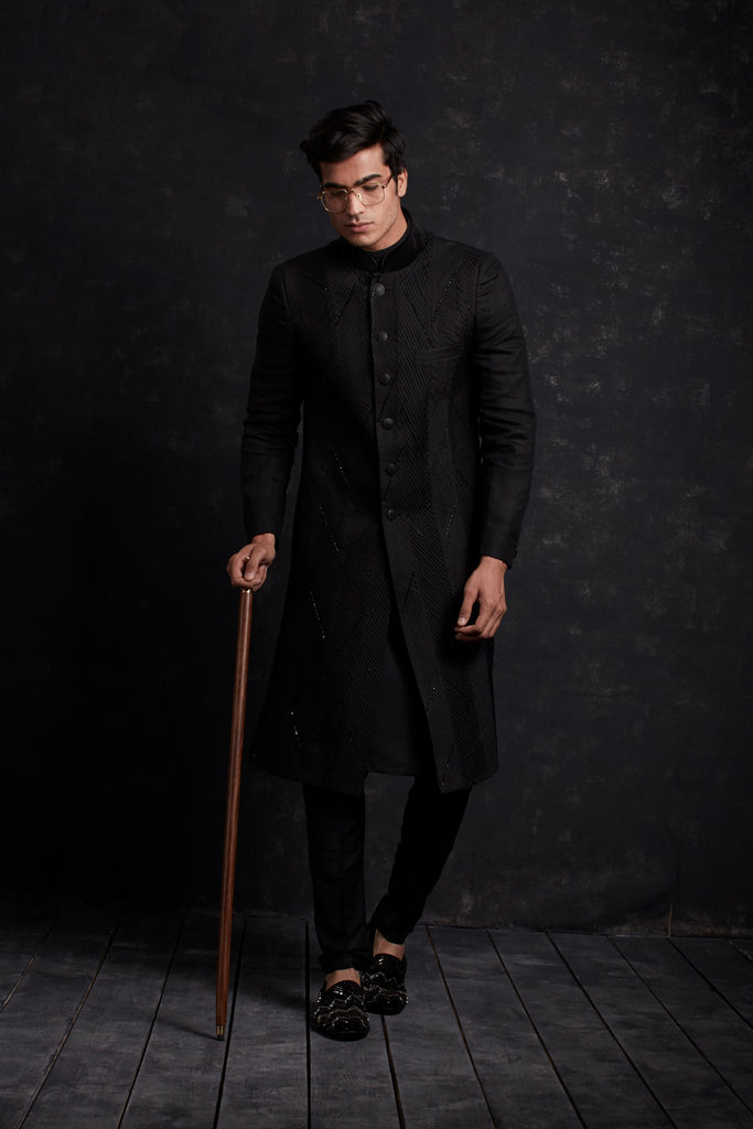 CUT N SEW CHEVRON PANELLED SHERWANI