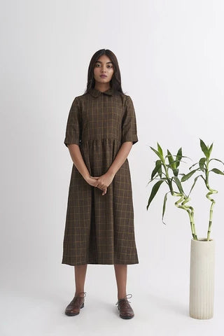 LET LOOSE Midi Boat Neck Dress