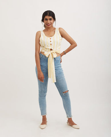 OFF THE GRID Cropped fray hem top
