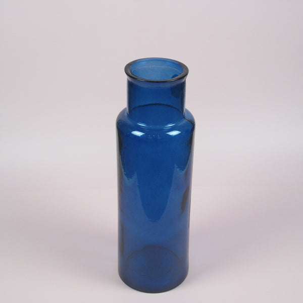 Peacock Blue Tall Recycled Glass Vase