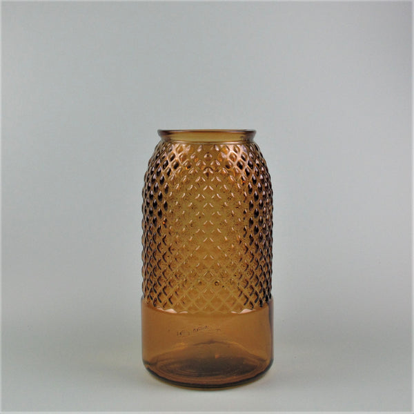 Diamond Amber Recycled Glass Tall Vase