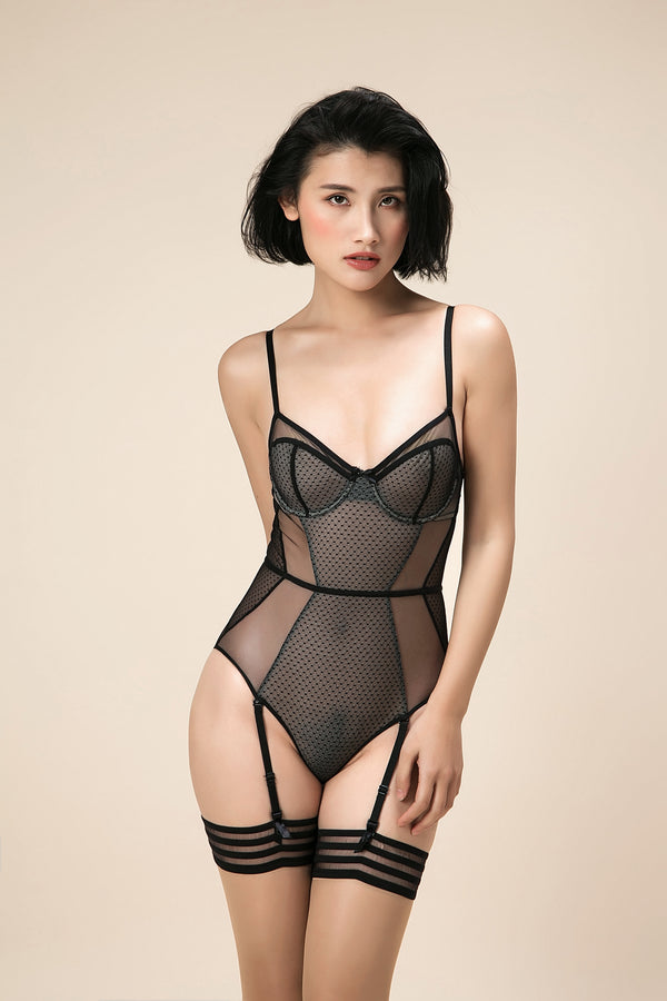 Adeline Black Lace bodysuit