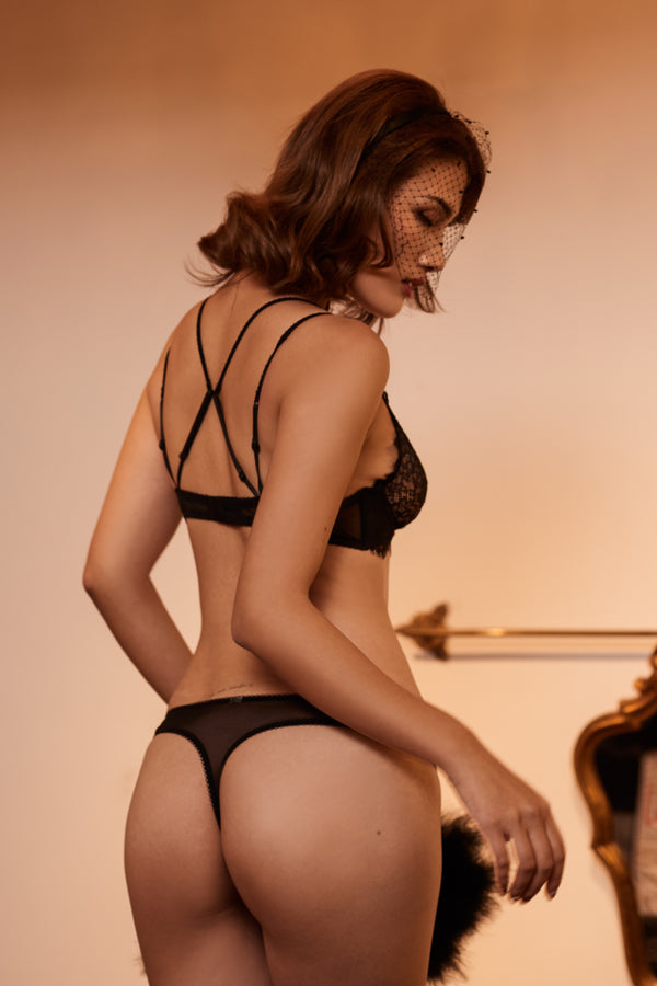 Pluma black lace thong