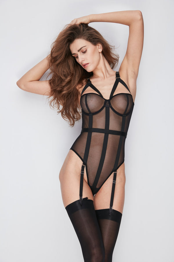 Kandice black stocking bodysuit