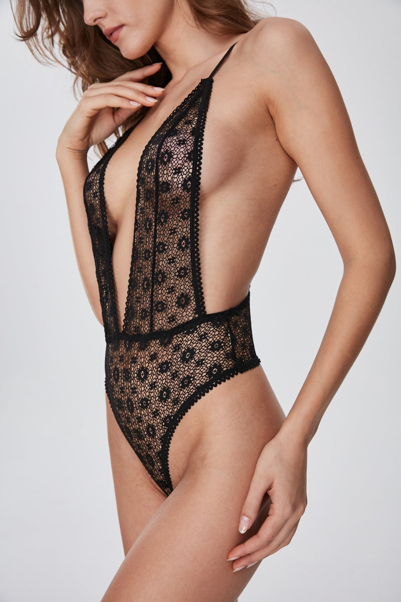 La Luna black lace Bodysuit
